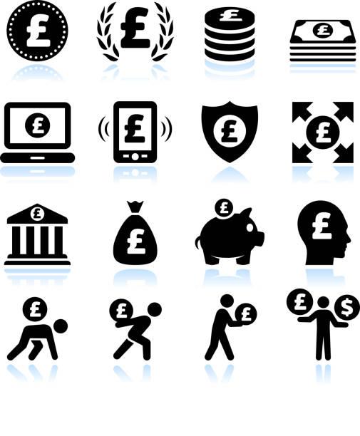 bildbanksillustrationer, clip art samt tecknat material och ikoner med euro finance and money black & white vector icon set - paper mass