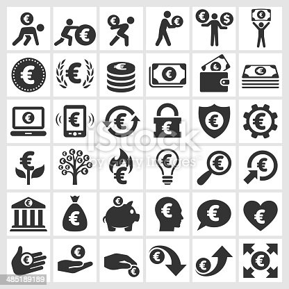 Euro Finance and Money black and white royalty free vector icon set. This editable vector file features black icons on white background. The icons are organized in rows and can be used as app icons, online as internet web buttons, and in digital and print.