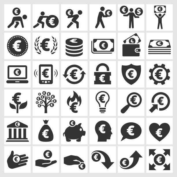 Euro Finance & argent noir et blanc vector icon set - Illustration vectorielle