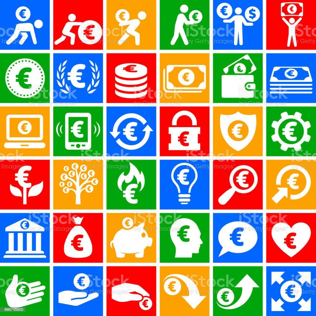 Euro Finance & argent vector icône situé sur le tableau noir - Illustration vectorielle
