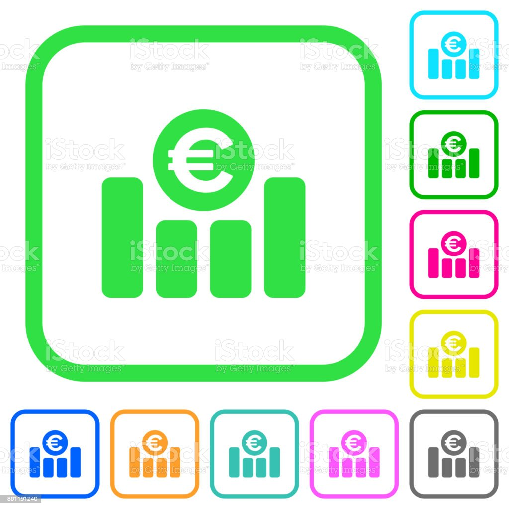 Euro financial graph vivid colored flat icons icons vector art illustration