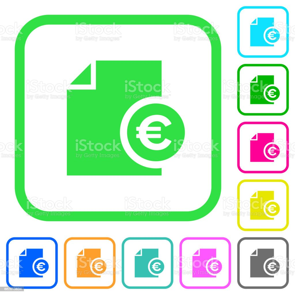 Euro financial report vivid colored flat icons icons vector art illustration