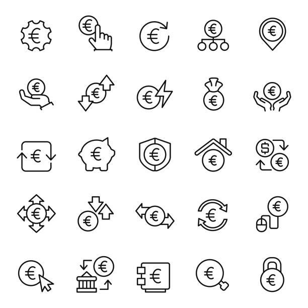 Euro icon set Euro icon set euro symbol stock illustrations