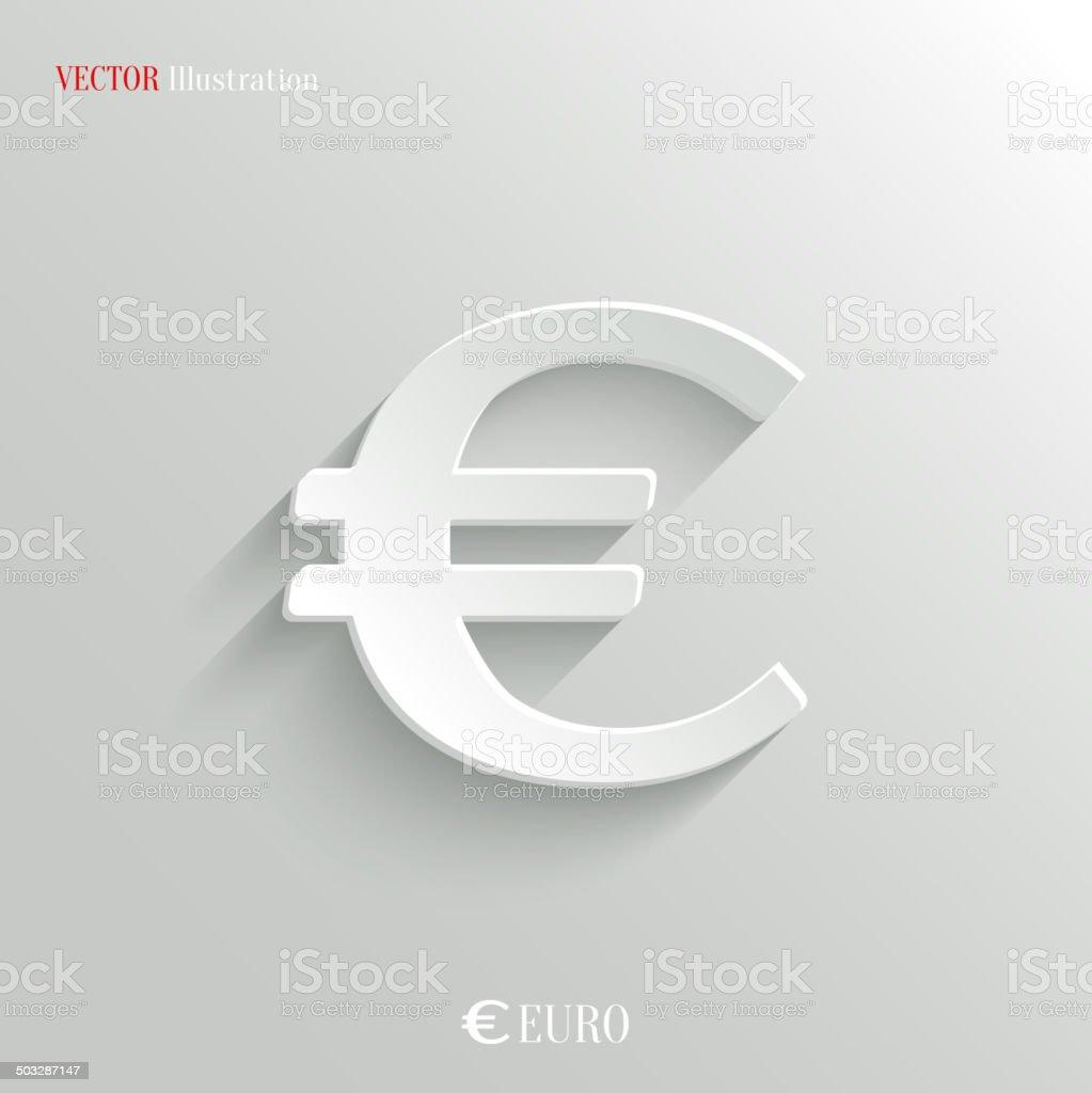 Euro Icon - vector white app button vector art illustration