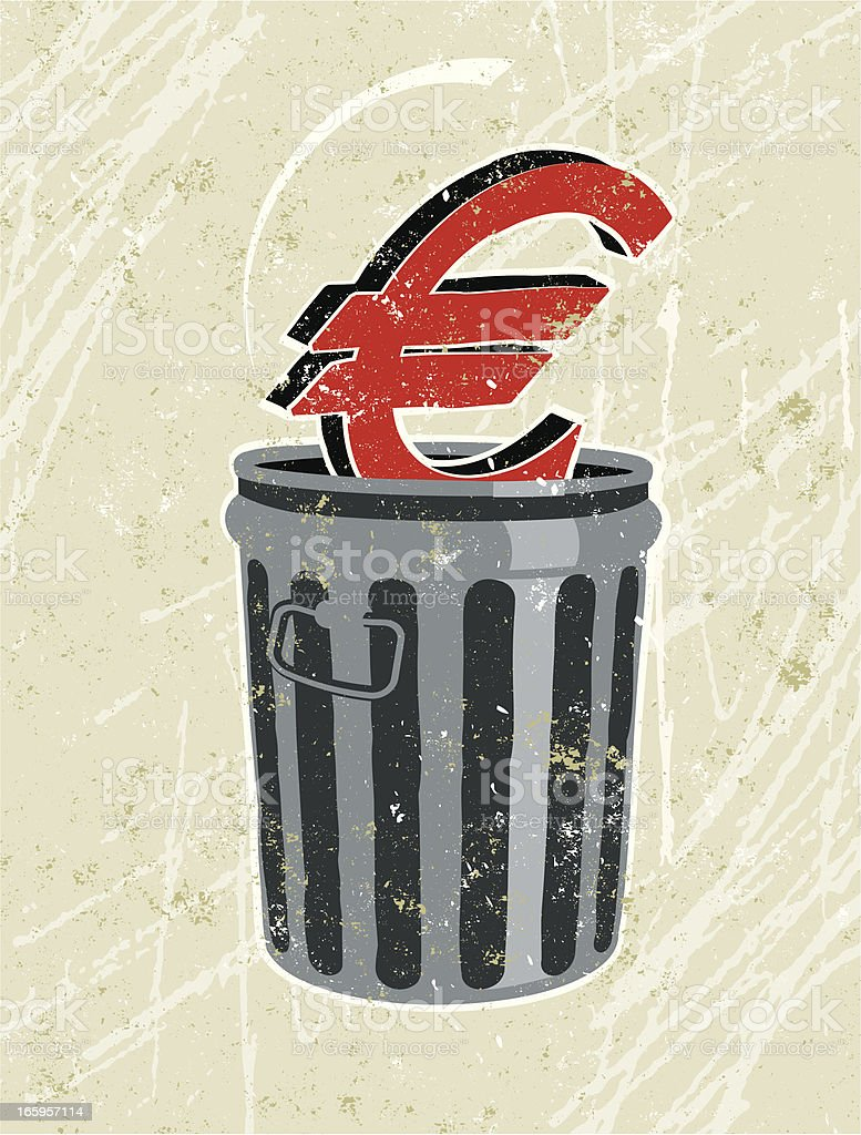 Euro in a Rubbish Bin vector art illustration