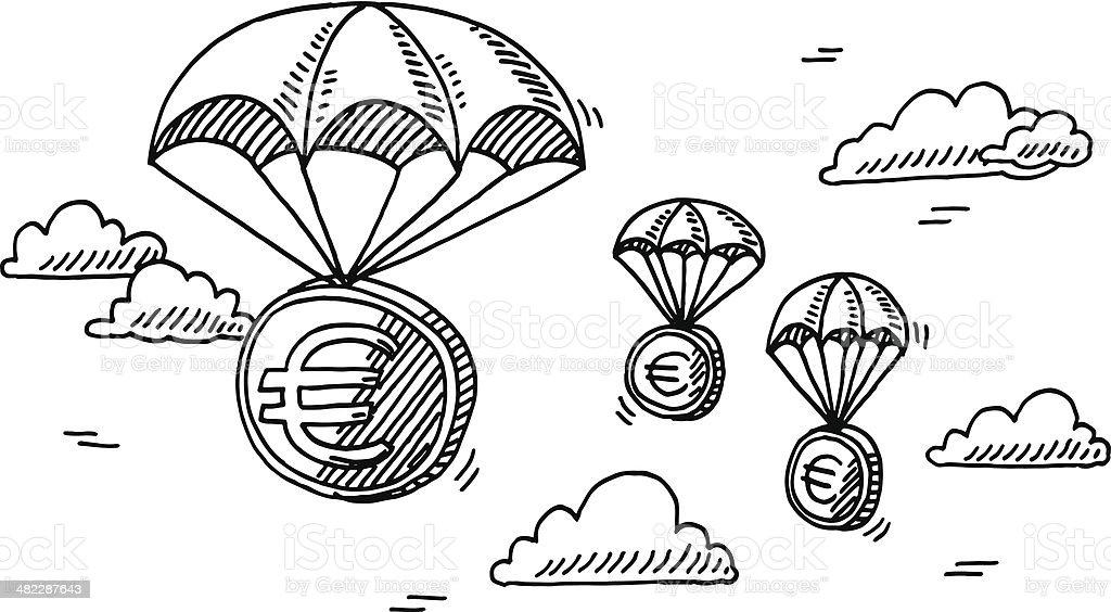 Ilustración de Moneda Euro Dinero Paracaídas Dibujo y más banco de ...