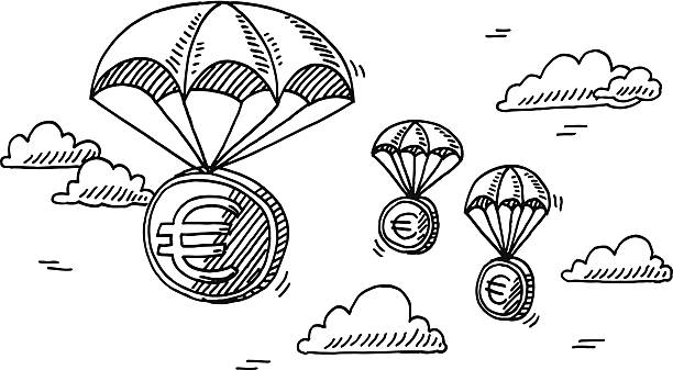 Euro Money Coin Parachute Drawing Hand-drawn vector drawing of some Euro Money Coins on Parachutes. Euro Rescue Fund Concept Image. Black-and-White sketch on a transparent background (.eps-file). Included files are EPS (v10) and Hi-Res JPG. transportation stock illustrations