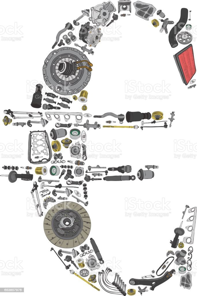 Euro money with auto parts for car vector art illustration