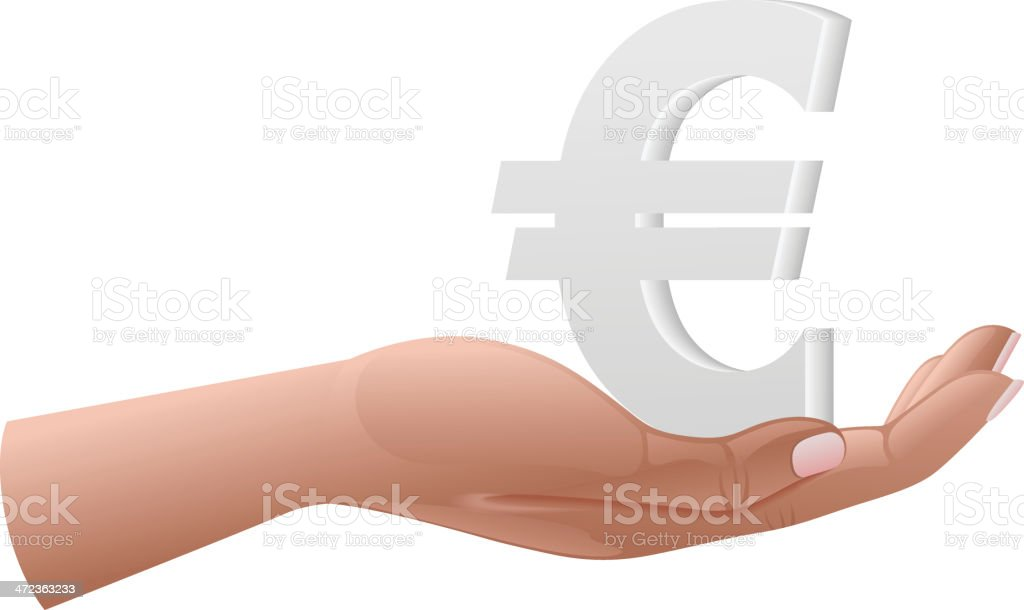 Euro on hand royalty-free stock vector art
