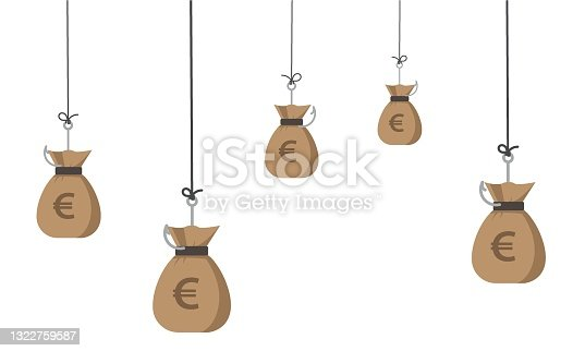 istock euro on white background. euro  is hooked by a fishing hook. 1322759587