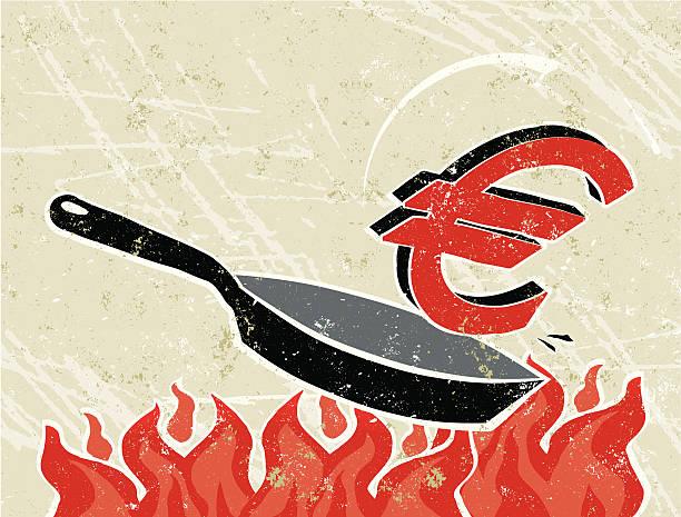 ilustrações de stock, clip art, desenhos animados e ícones de euro em uma frigideira no fogo - fail cooking