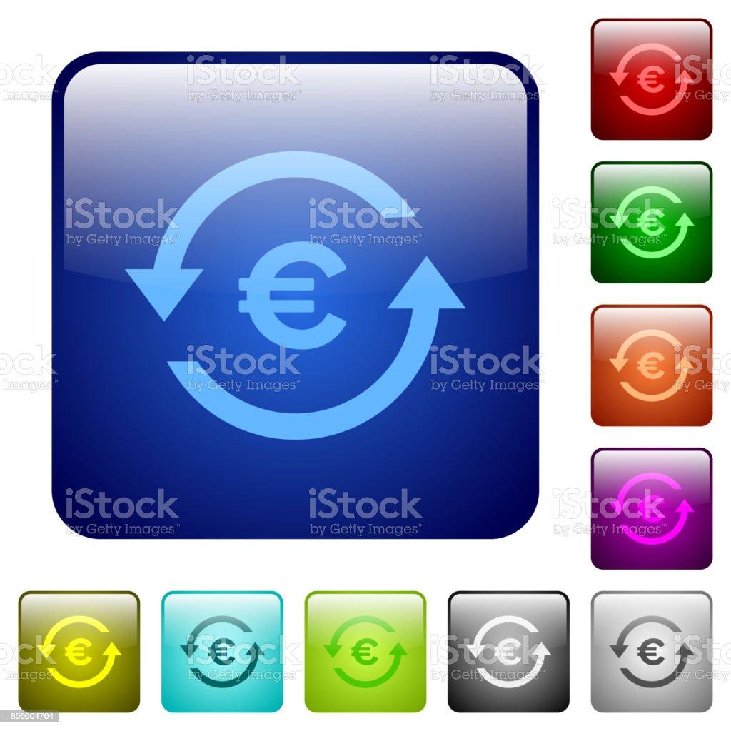 Euro pay back color square buttons - arte vettoriale royalty-free di Affari