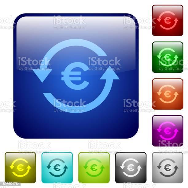Euro Pay Back Color Square Buttons - Immagini vettoriali stock e altre immagini di Affari