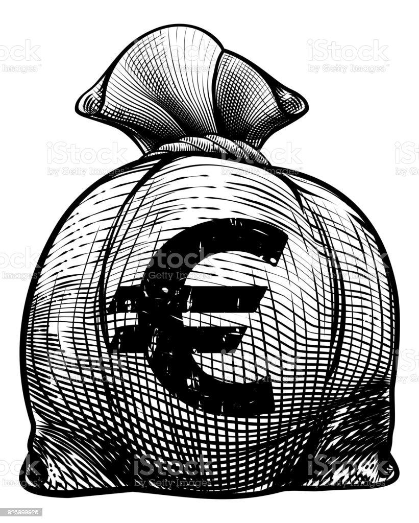 Euro Sign Burlap Sack or Money Bag vector art illustration