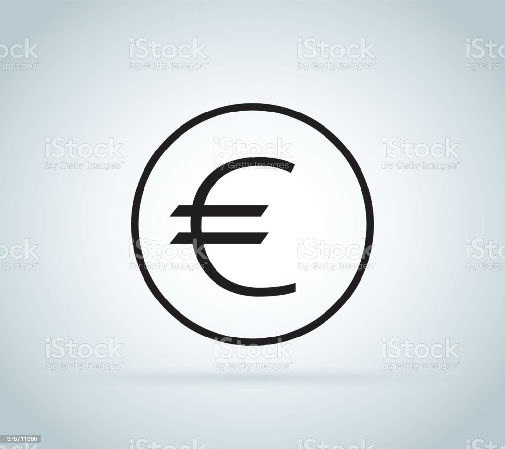 Euro Sign Coin Isolated On White Background Money Currency Icon Cash