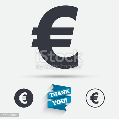 Euro Sign Icon Eur Currency Symbol Stock Vector Art 577965616 Istock