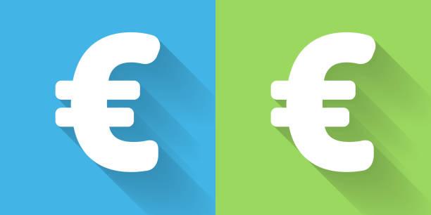 Euro-Zeichen-Symbol mit langen Schatten – Vektorgrafik