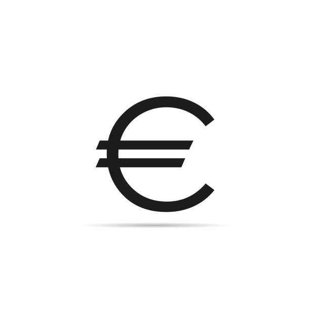 Euro sign icon with shadow vector art illustration