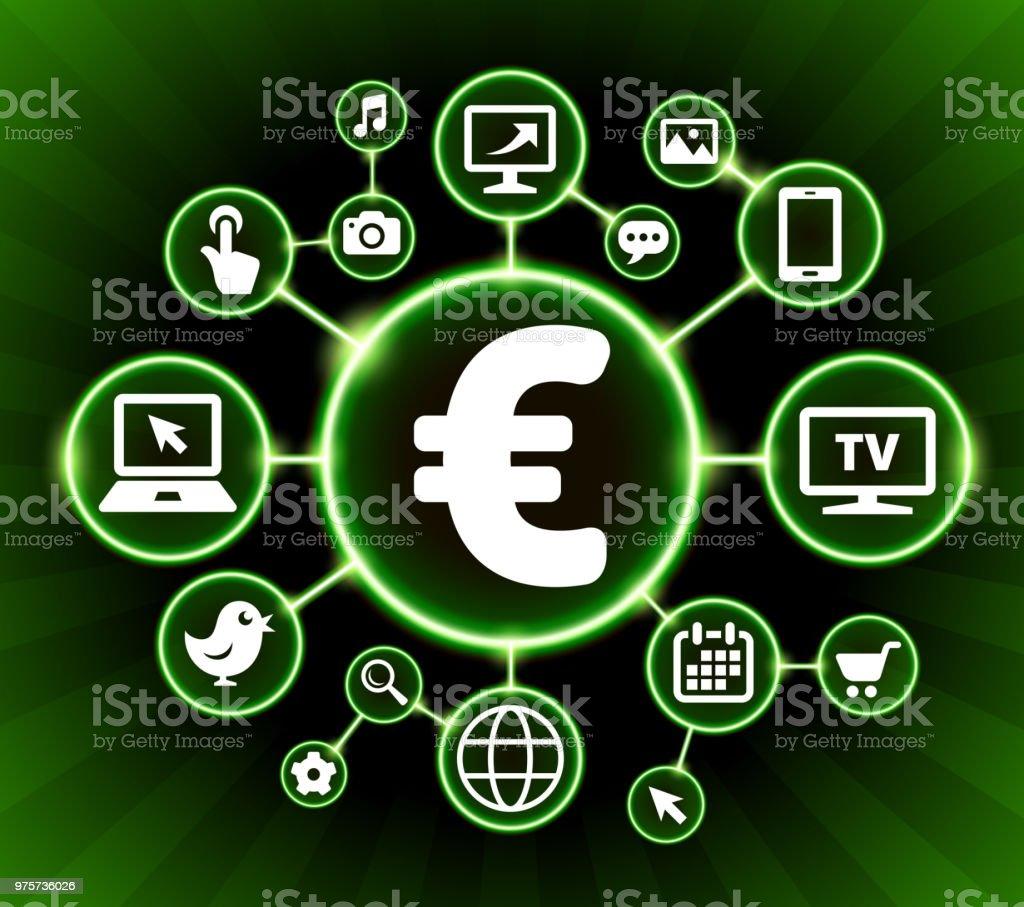 Euro Zeichen Internet Kommunikation Technologie dunkle Buttons Hintergrund - Lizenzfrei Bildhintergrund Vektorgrafik