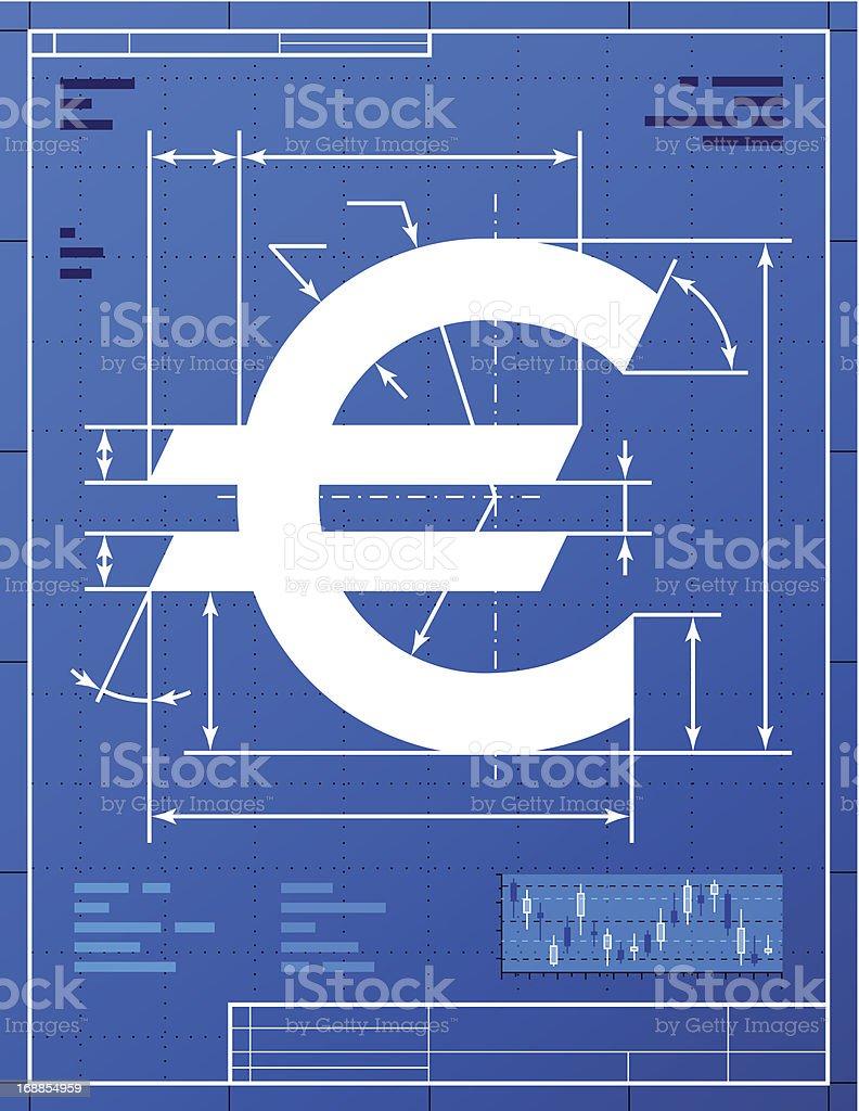 Euro sign like blueprint drawing vector art illustration