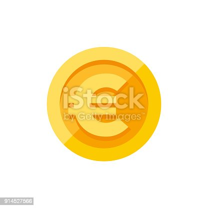 istock Euro sign on gold coin flat style 914527566