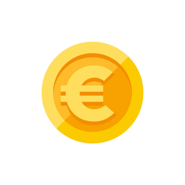 Euro sign on gold coin flat style Euro currency symbol on gold coin, money sign flat style vector illustration isolated on white background cash stock illustrations