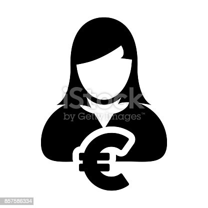 Euro Sign Symbol Icon Vector Currency With Female Person Money