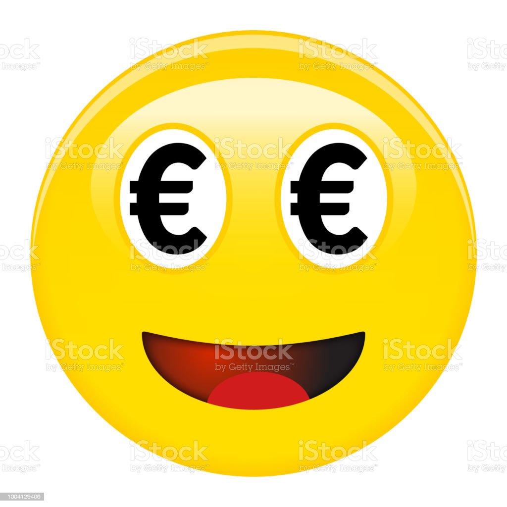 Ilustración De Emoticon Sonriente De Euro Risa 3d Emoji Con Símbolos