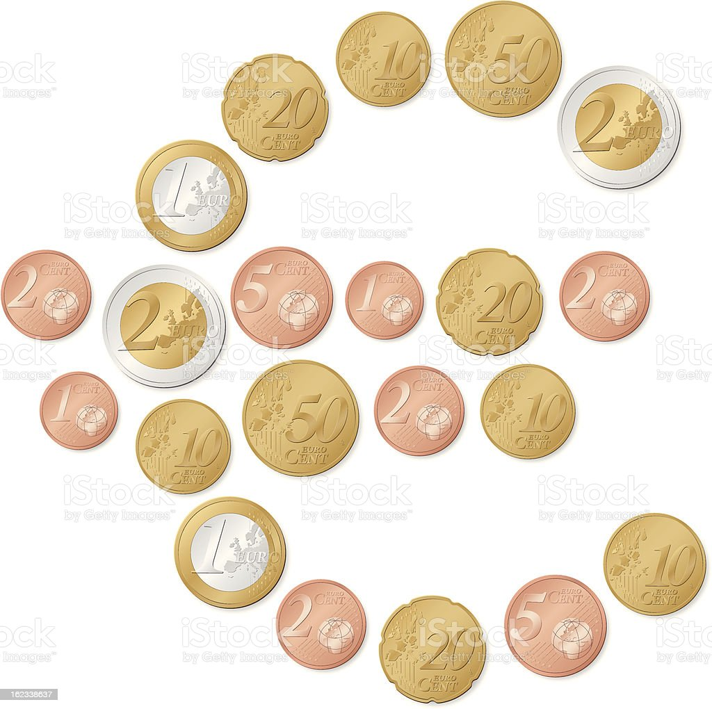 Euro Symbol Of Coins Stock Vector Art More Images Of Bronze