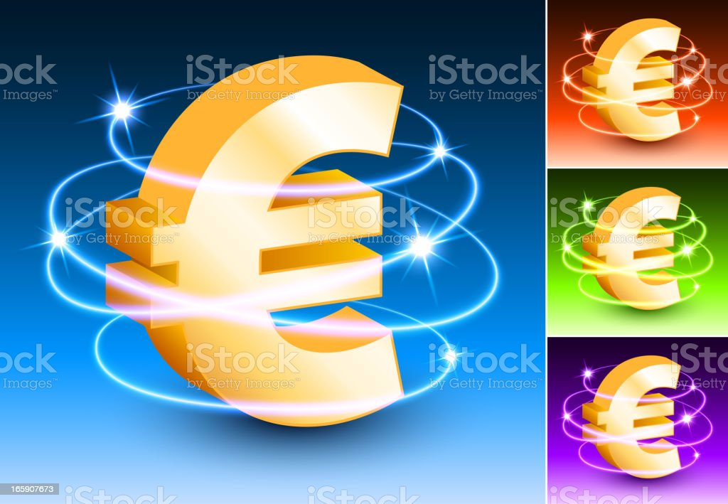 Euro Symbol on Abstract Light Background royalty-free stock vector art