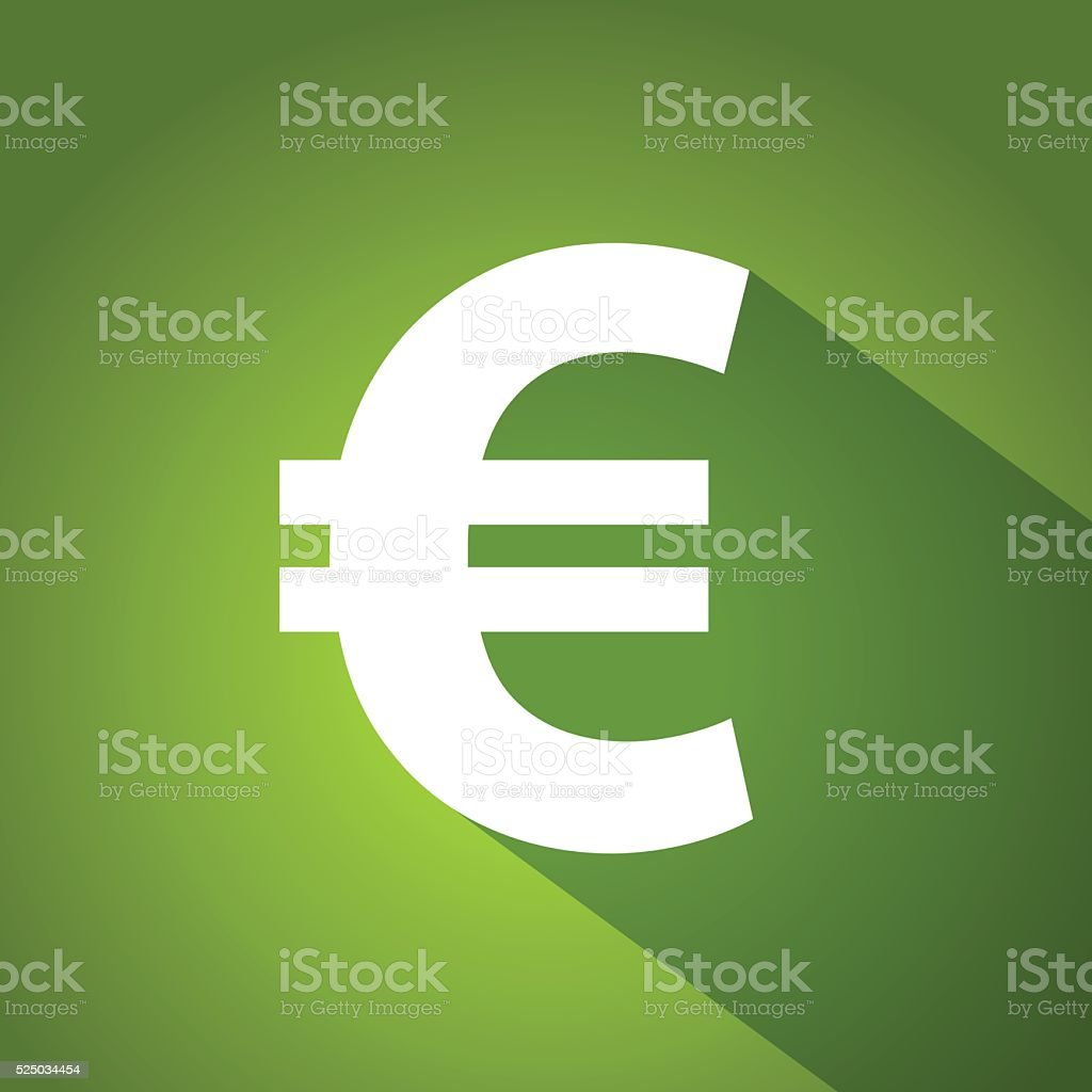 Euro symbol on green gradient background vector art illustration