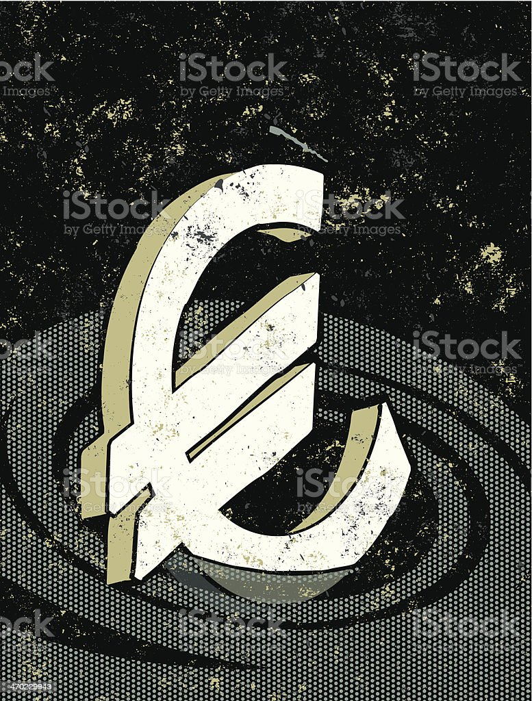 Euro Symbol sinking in a vortex or whirlpool vector art illustration