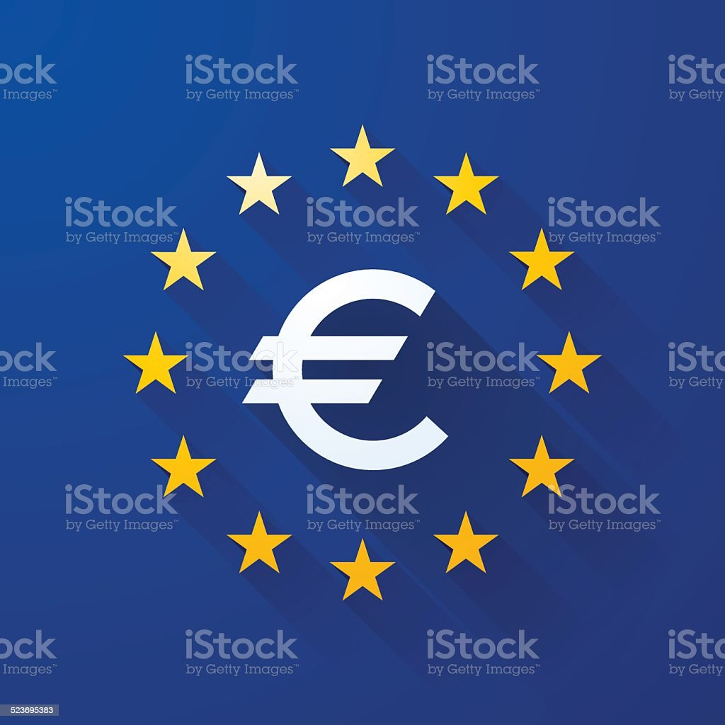 euro symbol with long shadows vector art illustration