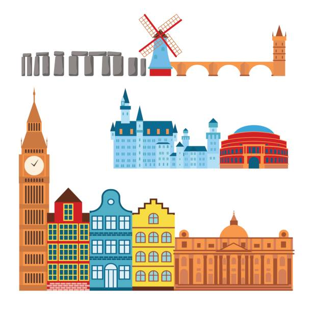 euro reise tourismus reisen design berühmten gebäude und euro-abenteuer-internationale vektor-illustration - salisbury stock-grafiken, -clipart, -cartoons und -symbole