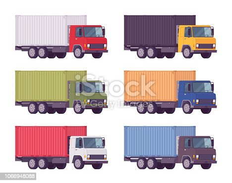Euro truck, metal container set in bright colors. Large lorry, heavy road vehicle for carrying goods. Delivery, logistics, warehousing and transportation. Vector flat style cartoon illustration