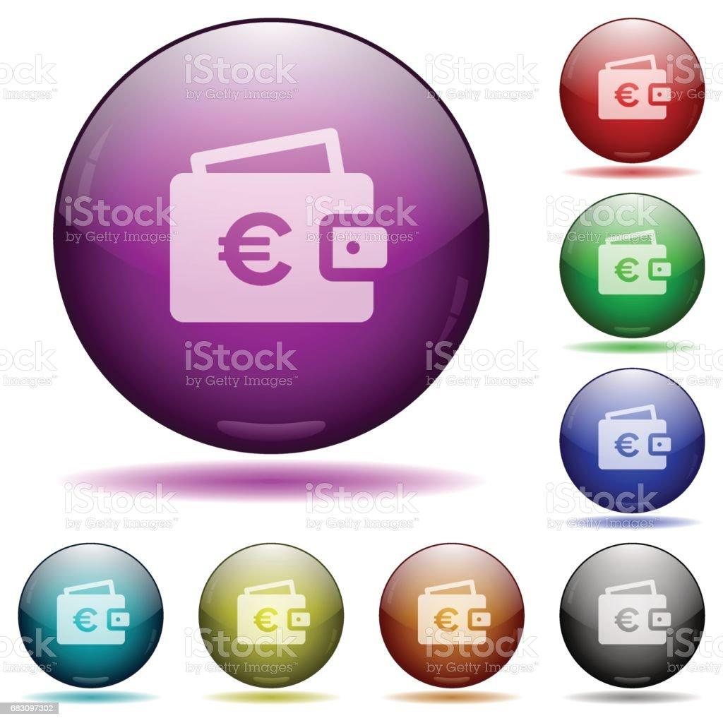 Euro wallet glass sphere buttons euro wallet glass sphere buttons - stockowe grafiki wektorowe i więcej obrazów biznes royalty-free