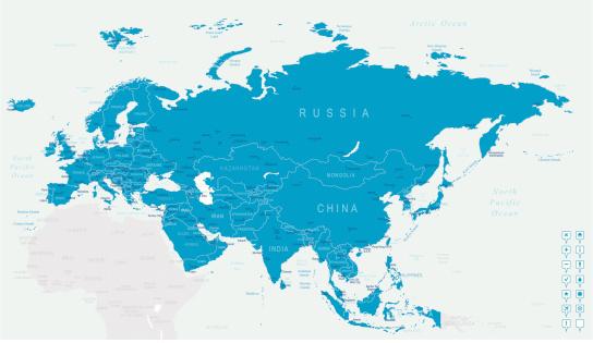 Euroasia - map and navigation icons