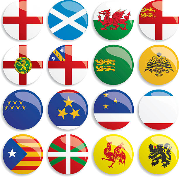 europa flags buttons - wales stock illustrations, clip art, cartoons, & icons