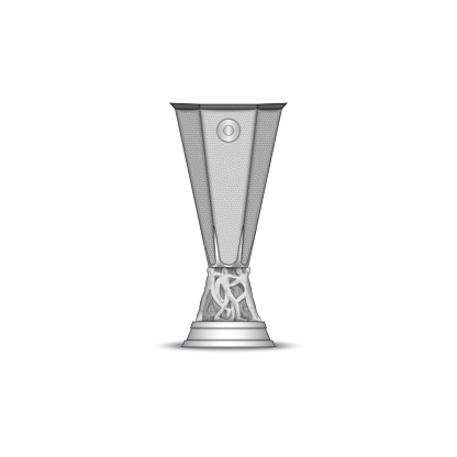 Europa League cup isolated on white background, European clubs football tournament trophy, realistic vector 3d model.