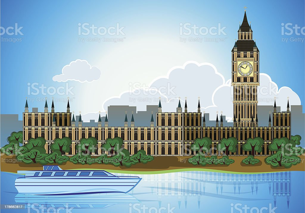 Europa skyline city capital London background royalty-free stock vector art