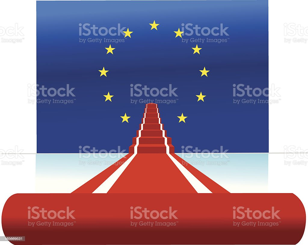 europan union flag and red carpet vector art illustration