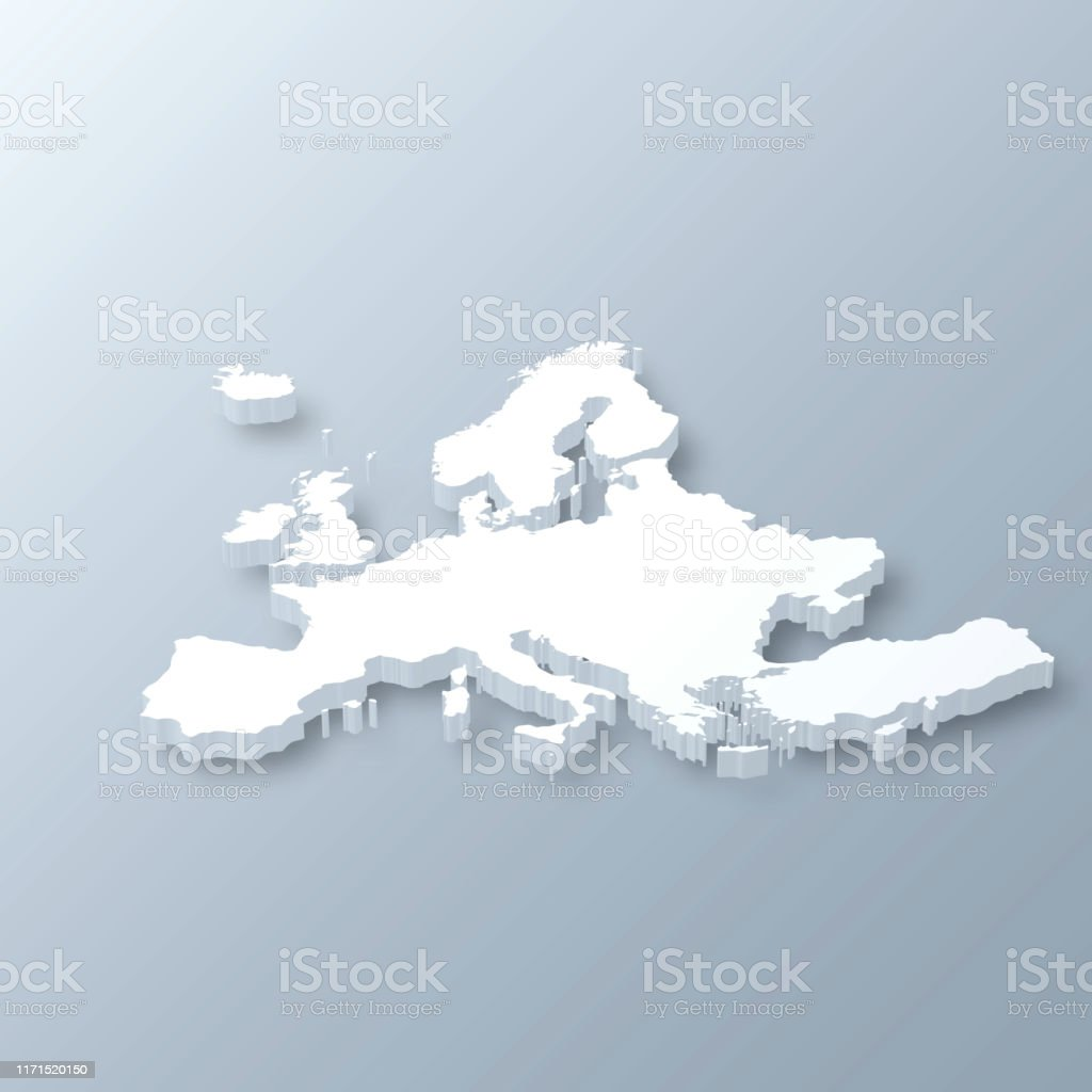 Europe 3D Map on gray background - Royalty-free Abstract stock vector