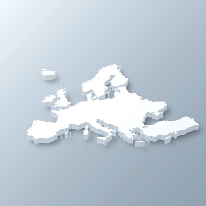 Europe 3D Map on gray background