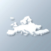 3D map of Europe isolated on a blank and gray background, with a dropshadow. Vector Illustration (EPS10, well layered and grouped). Easy to edit, manipulate, resize or colorize.