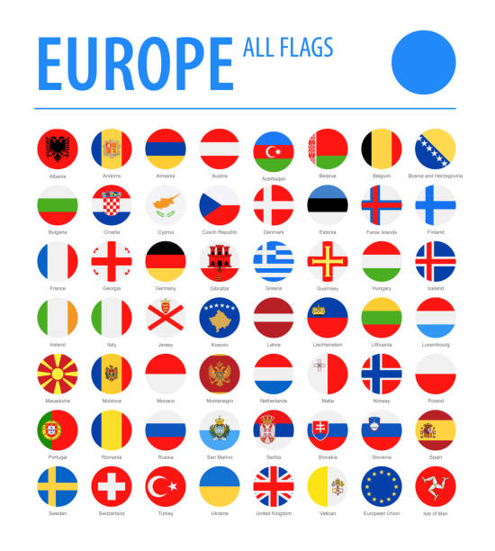europe all flags - vector round flat icons - флаг stock illustrations