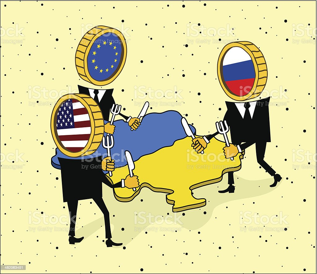 Europe, America and Russia want to eat a Ukraine. vector art illustration