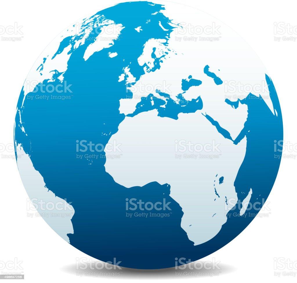 Europe and Africa, Global World vector art illustration