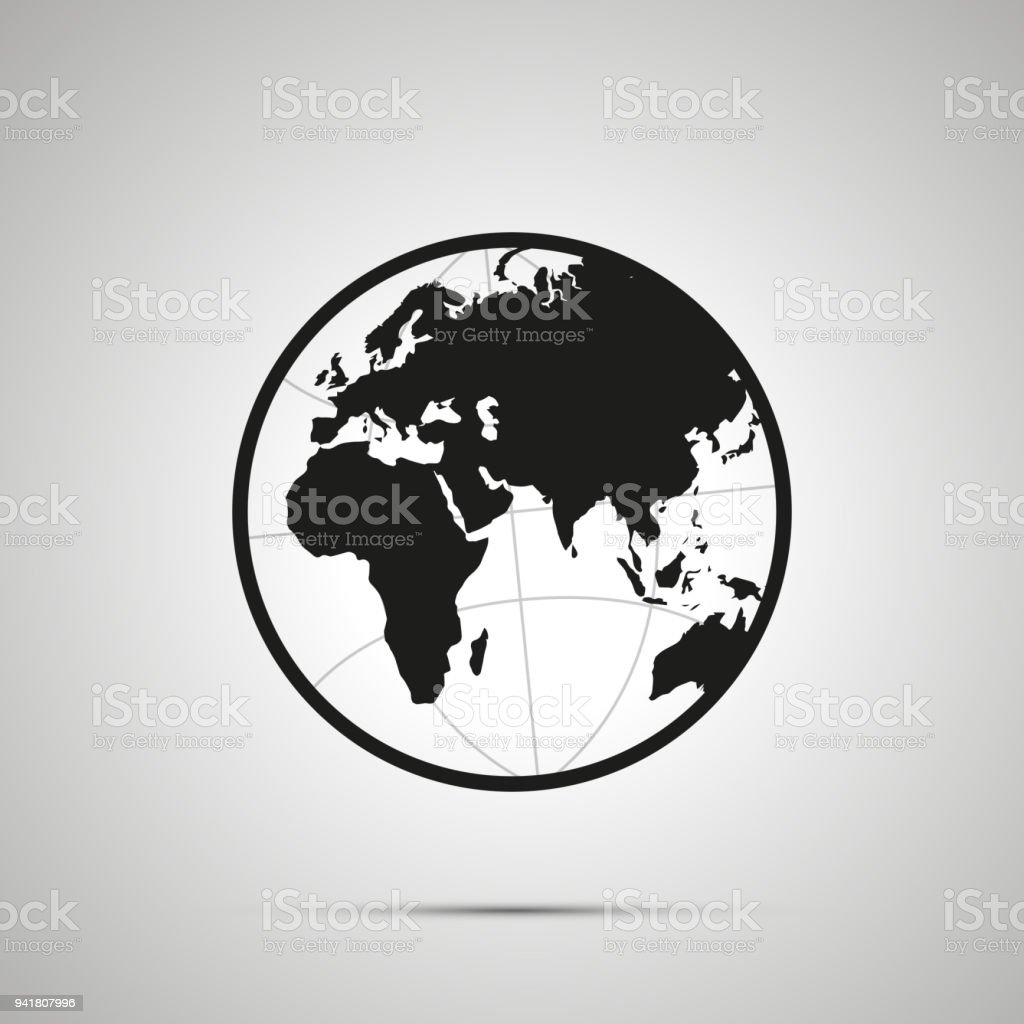 Europe and africa side of world map on globe simple black icon with europe and africa side of world map on globe simple black icon with shadow royalty gumiabroncs Image collections
