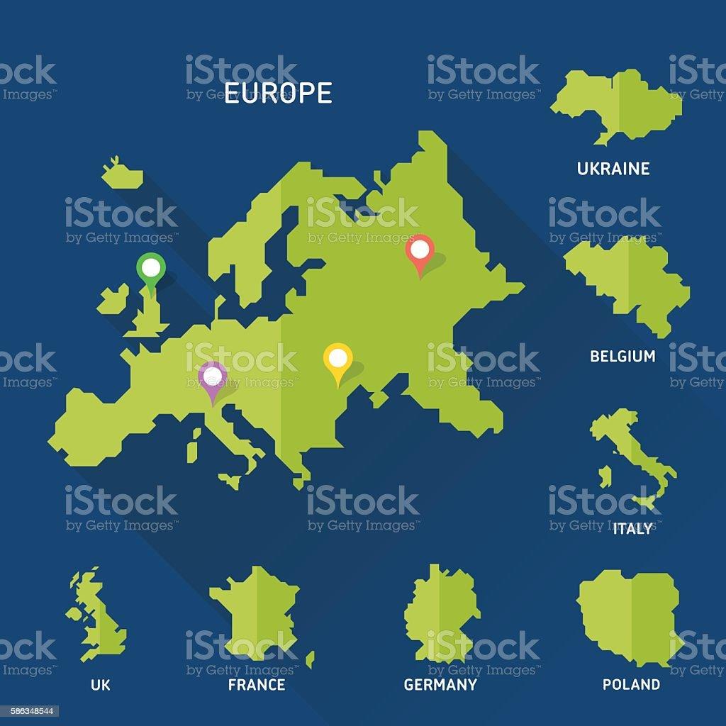 Europe and Europeian countries map vector - ilustración de arte vectorial