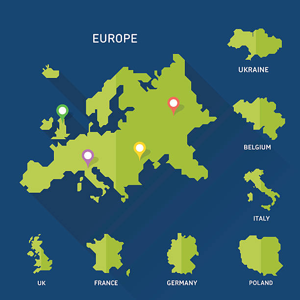 Europe and Europeian countries map vector - Illustration vectorielle